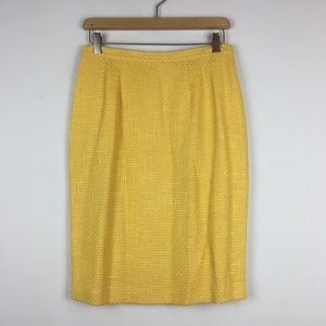 Vintage yellow pencil skirt textured knit